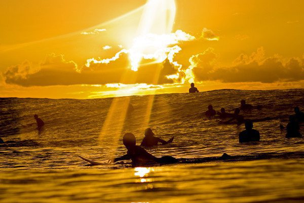 People surfing during sunset