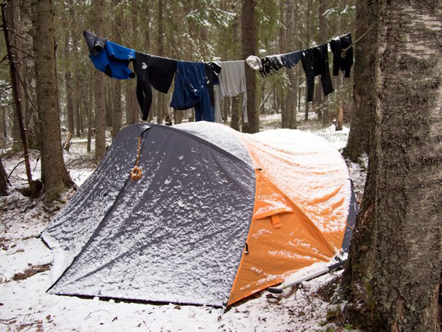 Homeless camp setup in the snow