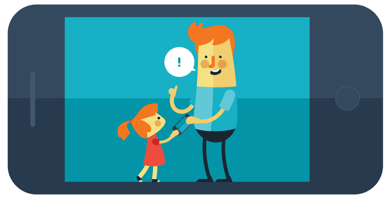 Drawing of iPhone with drawing of father and daughter on screen