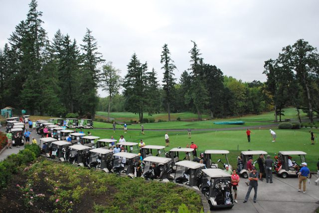 Participants all lined up and ready to golf for kids at the 2nd Annual All About Kids Cup.