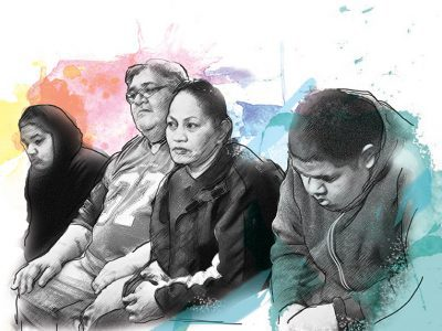 drawing of family sitting down