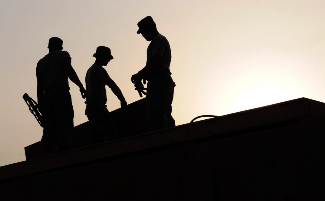 Silhouette on construction site