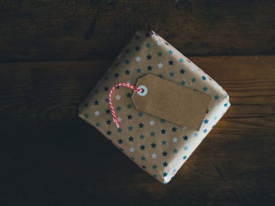 Wrapped present on table
