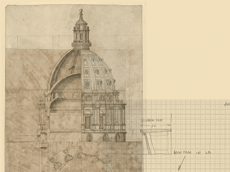 Architectural drawing of Church showing inside and outside