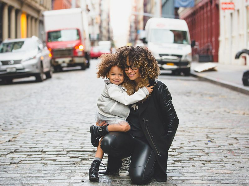 Mother and daughter outside