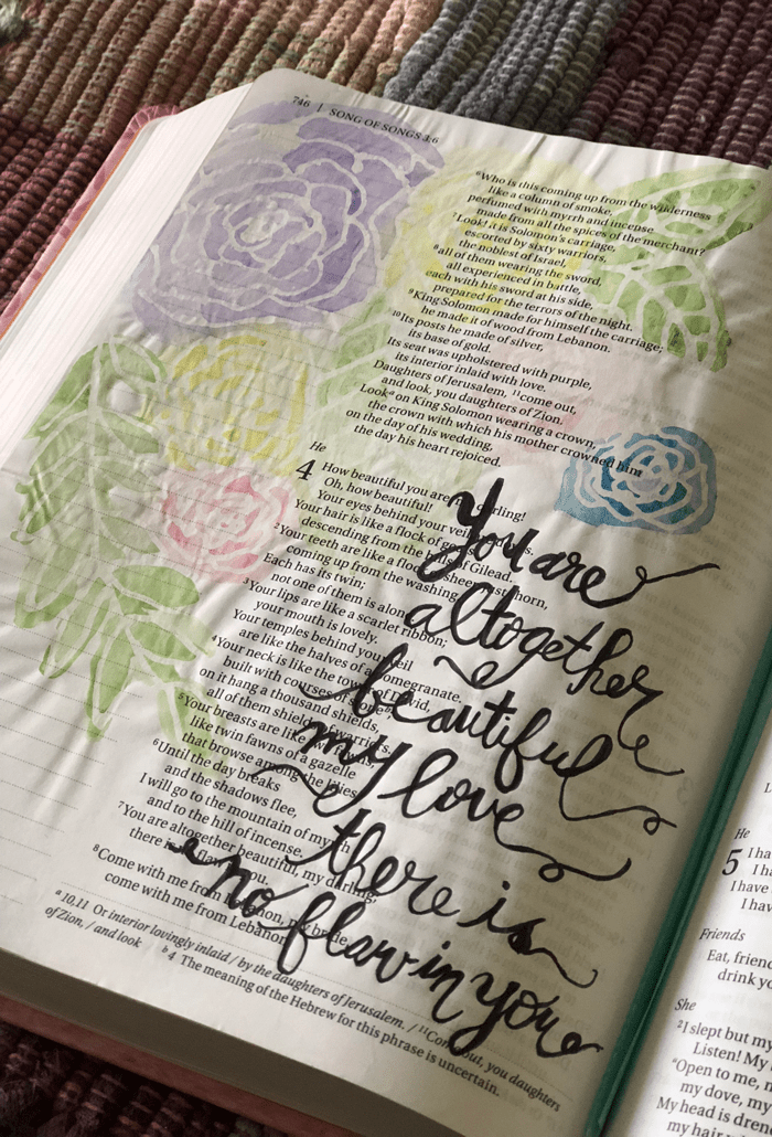 Bible journaling spread on song of songs