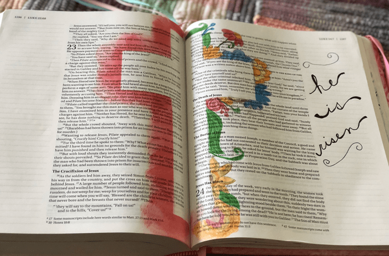 Bible journaling with cross drawn on inside of Bible