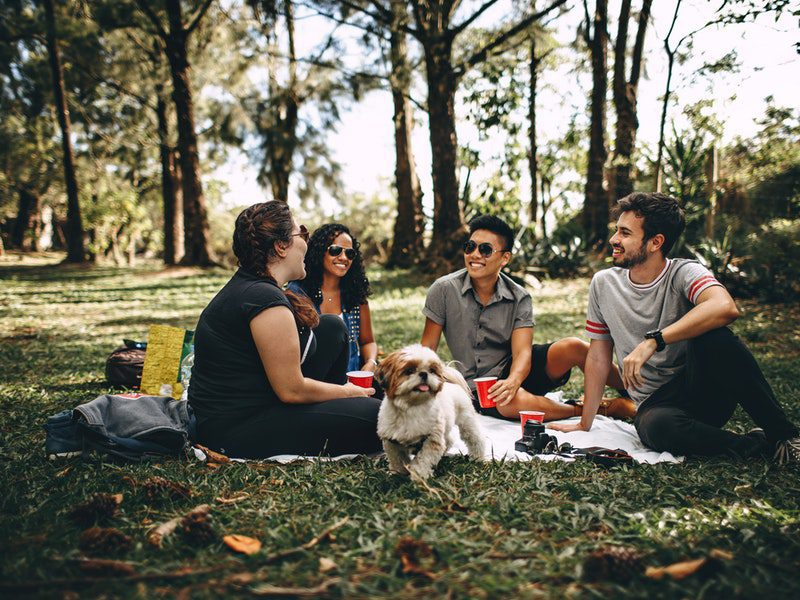 group of people sitting outside with dog
