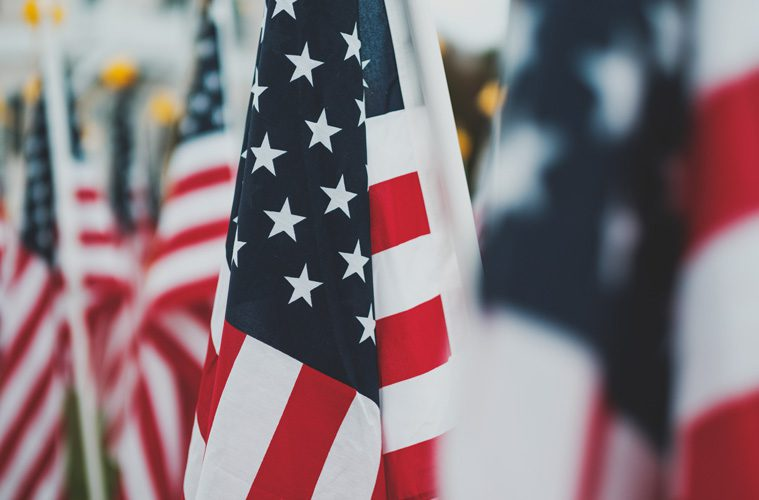 closeup of multiple American flags
