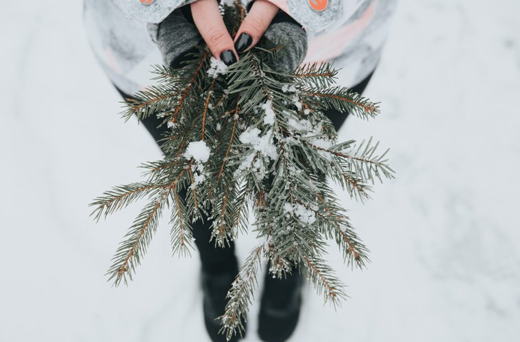 Woman holding Christmas tree branches with small amount of snow on them