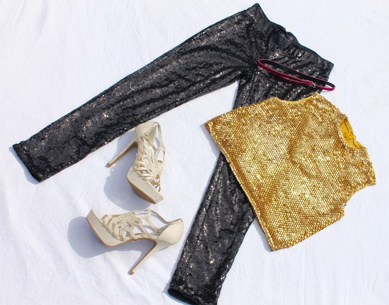 gold shirt and black pants with high heels for female disco costume
