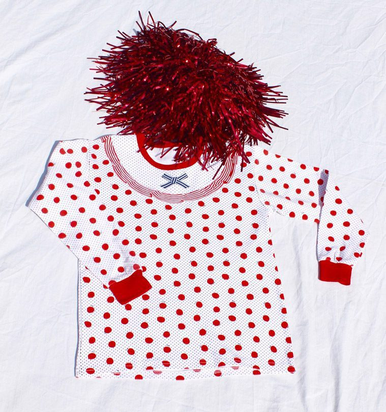 white shirt with red dots and red wig for clown costume