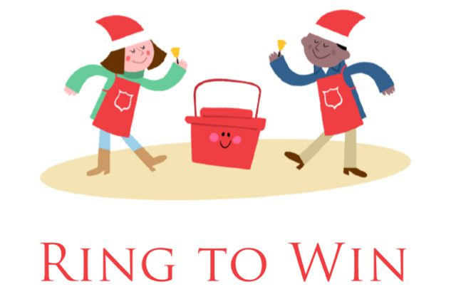 """""""Ring to Win"""" logo with boy, girl, and kettle"""