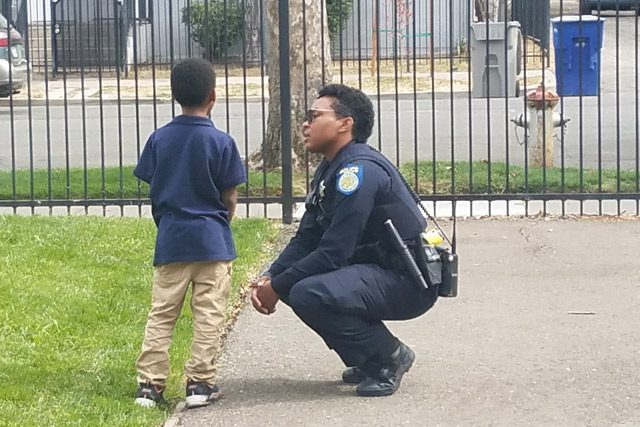 Sacremento Police Department Officer Talking With Youth