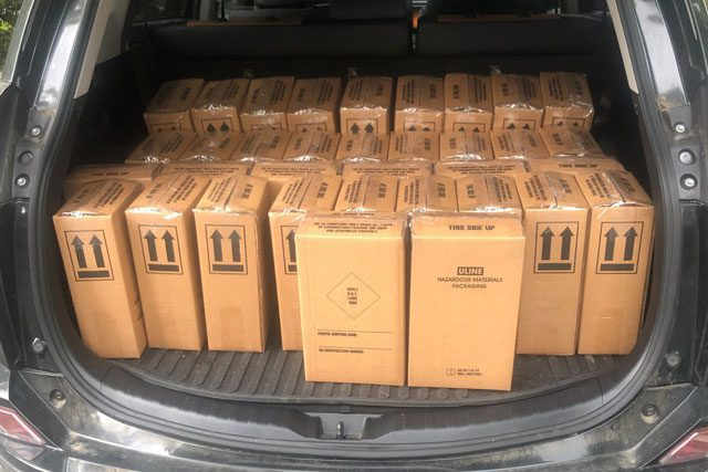 Boxes in trunk of car